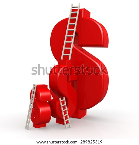 Red dollar signs with ladder image with hi-res rendered artwork that could be used for any graphic design. - stock photo