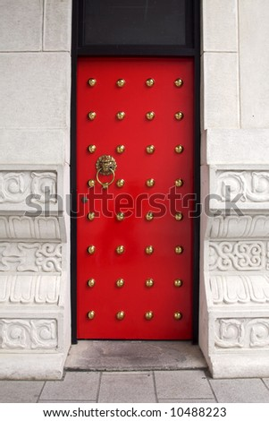 Red door at a chinese temple - stock photo
