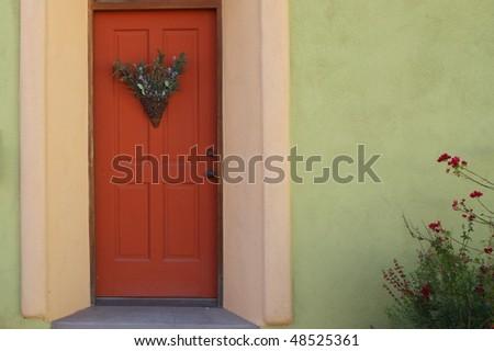 Red Door In The Old Barrio Neighborhood, Tucson
