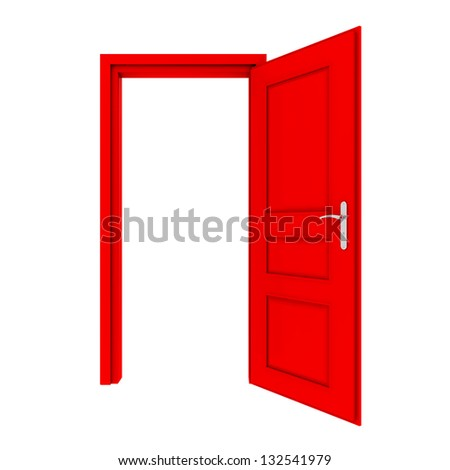 red door isolated on white background - stock photo