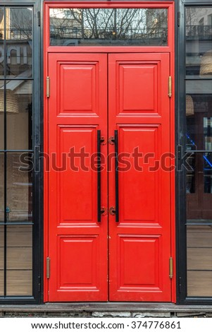 Red door with black handles at Budapest,hungary