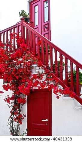 red doors and stairway