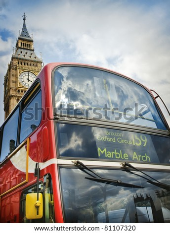 Red double decker bus and Big Ben in London, UK - stock photo