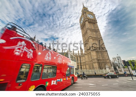Red Double Decker bus and Big Ben, symbols of London. - stock photo