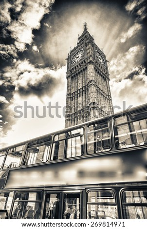 Red Double Decker Bus under Big Ben. London travel concept. - stock photo