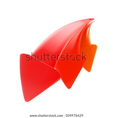 Red down arrow icon symbol isolated on white - stock photo