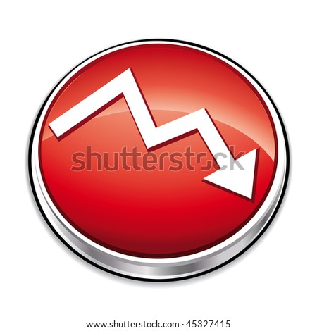 Red down financial curve button. - stock photo