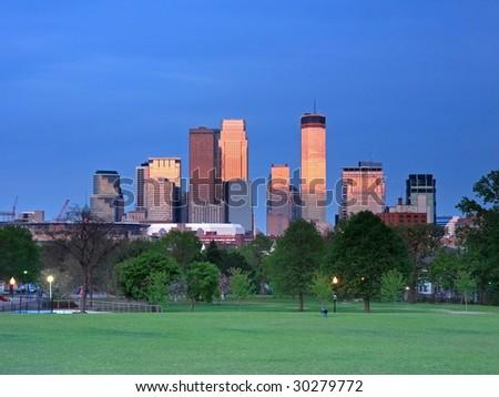 Red downtown Minneapolis reflection - stock photo