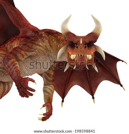 red dragon close up - stock photo