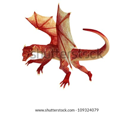 red dragon flying - stock photo