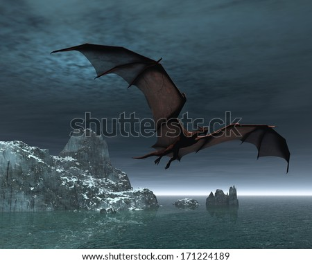 Red dragon flying over the sea and snow covered islands at night, 3d digitally rendered illustration - stock photo