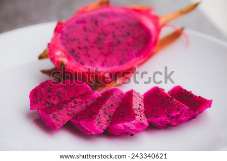 red dragon fruit with high nutrient good for health - stock photo