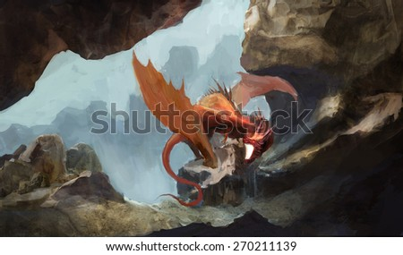 red dragon in rocky cave  - stock photo