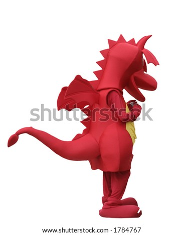 Red dragon isolated on white - stock photo