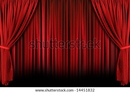 Red draped theater stage curtains with light and shadows - stock photo