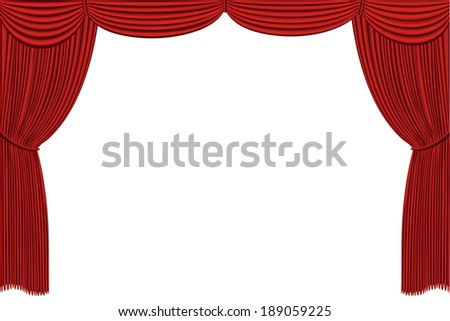 red drapes curtain.