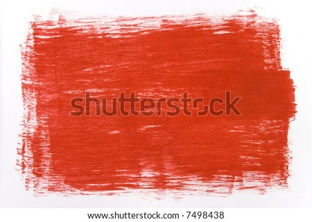 red draw texture painting on white canvas