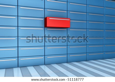 Red drawer opened in 3d - different drawer in red - stock photo