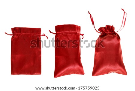 Red drawstring bag packaging isolated over white background, set of three images as a process of folding and closing an opened one - stock photo