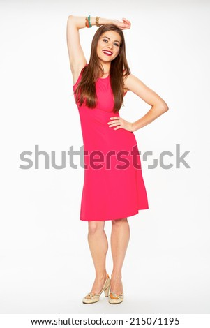 Red dress. Full body. Smiling model. Young woman white background portrait.