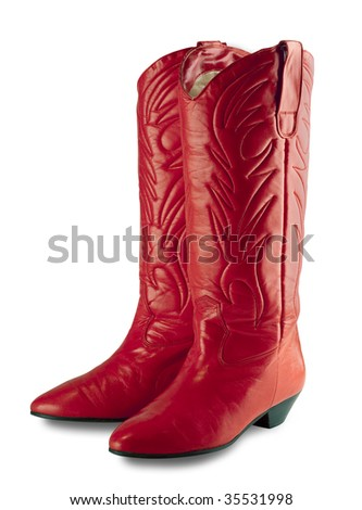 Red dress up womens cowboy boots with clipping path - stock photo