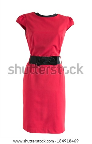 red dress with black belt on a mannequin on a white background - stock photo