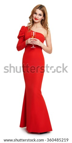 red dressed woman with champagne glass on white - stock photo