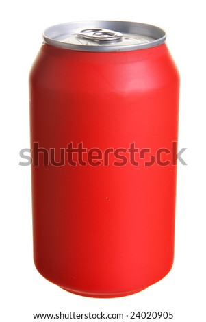 Red drink can isolated over white background - stock photo