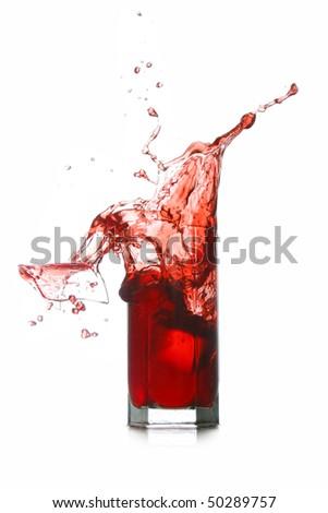 red drink splash broken glass - stock photo