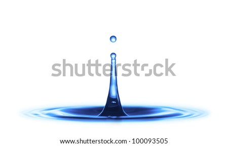 Red drop splash of blue water - stock photo
