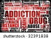 Red Drug Addiction Dangers Grunge Warning Concept - stock photo