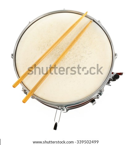 Red drum with drum sticks isolated on white background, close up - stock photo