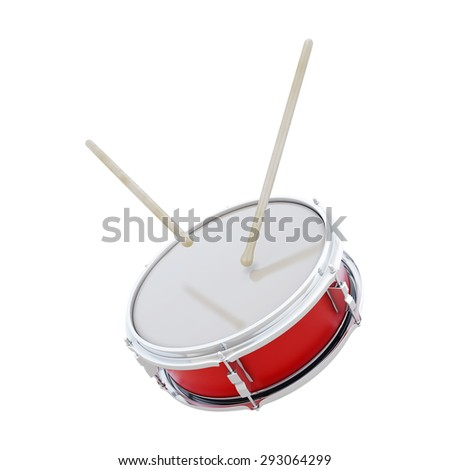 Red drum with sticks isolated on white background. 3d render image. - stock photo
