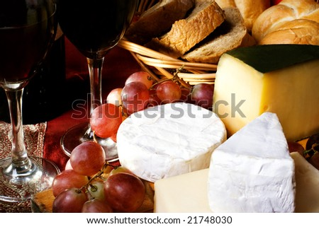 Red dry wine and cheese, still life - stock photo