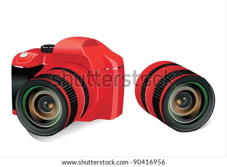 Red dslr camera and lens on a white background,