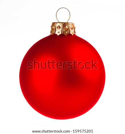 Red dull christmas ball on white background - stock photo