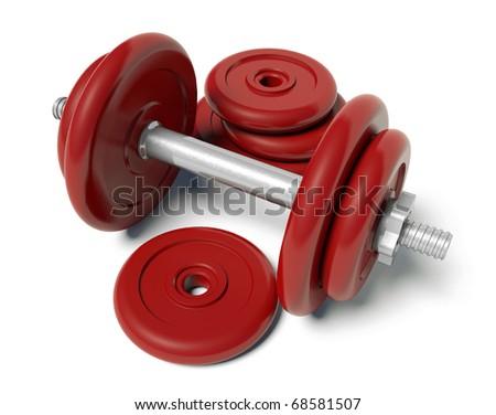 Red dumbbell - stock photo