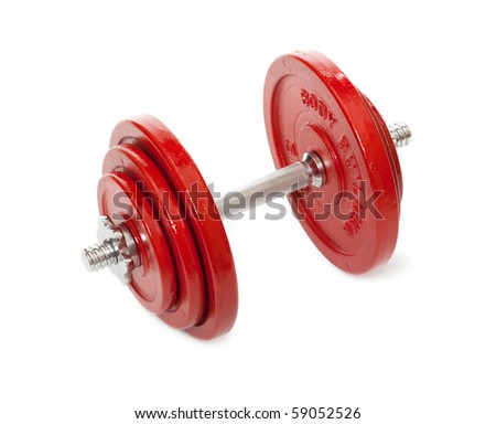 Red dumbbells on white background - stock photo