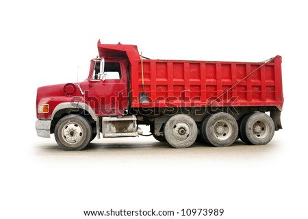Red dump truck with natural shadow, isolated on white [names removed]. - stock photo