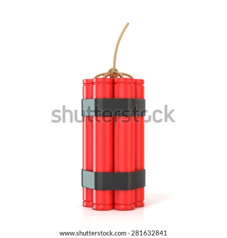 Red dynamite sticks - TNT with wick, standing. 3D render illustration isolated on white background - stock photo