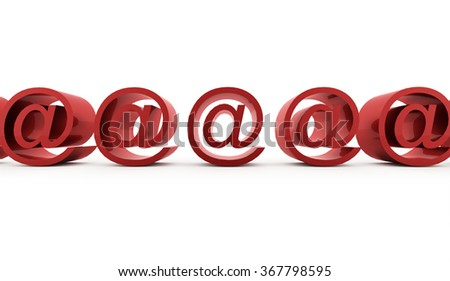 Red E-mail icons on White Background.