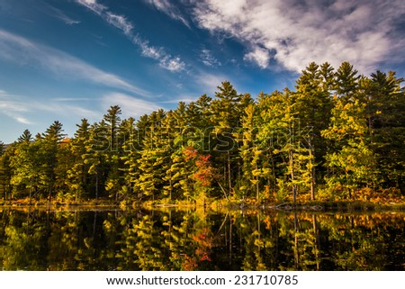 Red Eagle Pond, in White Mountain National Forest, New Hampshire. - stock photo