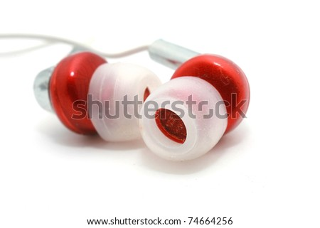 Red Ear Buds isolated on white