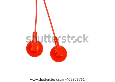 Red ear buds isolated on white bacnground