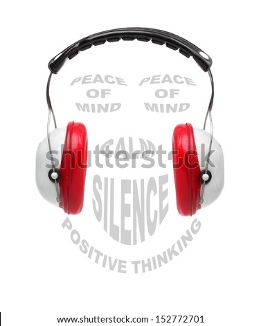 Red earmuffs with text collage on noise pollution theme. - stock photo
