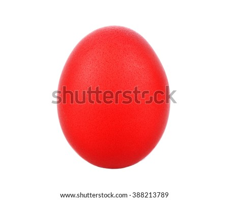 red easter egg isolated on white background .