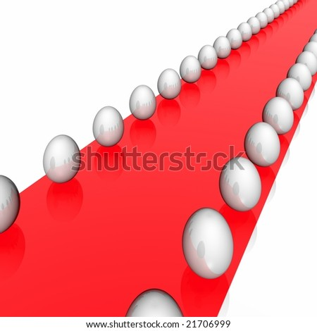 Red easter path with white eggs