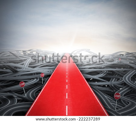 Red easy way to success over street confusion - stock photo