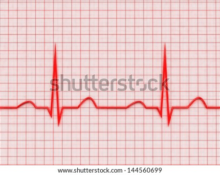 Red ecg graph 3d model - stock photo