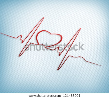 Red ECG line with heart graphic on grid background - stock photo